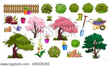 Spring Garden Nature Vector Cartoon Icon Set With Flower Pot, Blossom Trees, Fence, Flowers, Bushes.