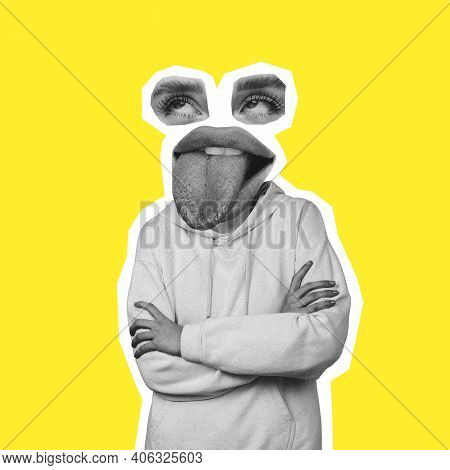 Blah-blah. Bored Female Face Headed Body On Yellow. Tongue Sticking Out. Modern Design, Contemporary
