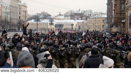 Saint Petersburg, Russia - 31 January 2021: Free Navalny Protest In Russia, Illustrative Editorial