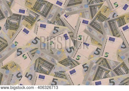5 Euro Bills Lies In Big Pile. Rich Life Conceptual Background. Big Amount Of Money