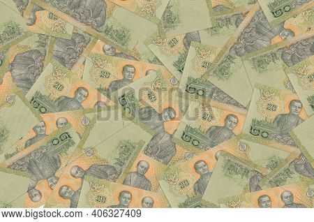 20 Thai Baht Bills Lies In Big Pile. Rich Life Conceptual Background. Big Amount Of Money