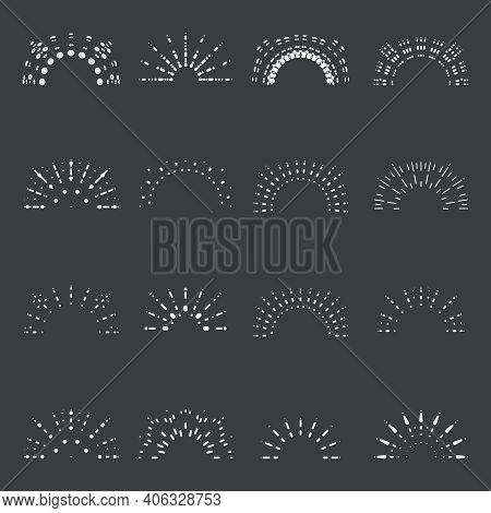 Sunrise Lineart Sun Radiant Sunburst Icons Design Set Template Vector Illustration