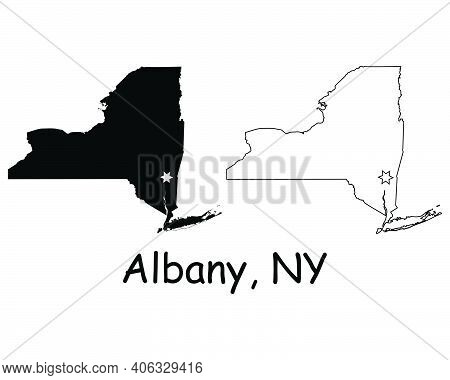 New York Ny State Map Usa With Capital City Star At Albany. Black Silhouette And Outline Isolated On