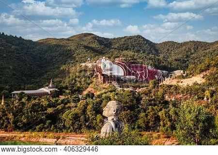 Yadana Daung Temple In Mawlamyine. Myanmar, Former Burma. World's Largest Reclining Buddha