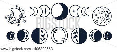 Black-white Celestial Clipart, Boho Moon Phases Kids Space Clipart, Hand Drawn Line Art, Cute Magic