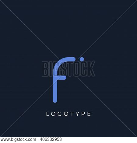 Minimalist Letter F With Dots, Awesome Monogram. Lowercase Letter For Modern And Creative Logo Conce
