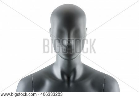 Female Gray Athletic Mannequin Doll Or Store Display Dummy Isolated.
