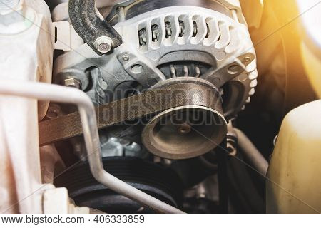 Timing Belt Of Car Alternator In Benzine Engine,  Component Of The Electrical Charging System Of The
