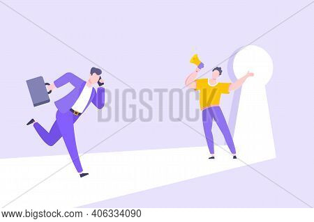 Business Key Opportunity Concept With Keyhole And Ambitious Man Running To Career Potential And Work