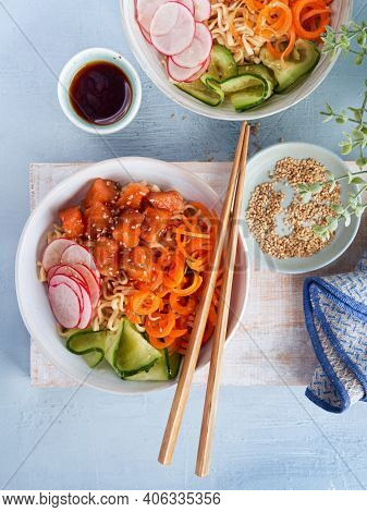 Noodles With Vegetables, Marinated Salmon Sashimi, Carrot Noodles, Cucumber, Radish Soy Sauce, Sesam