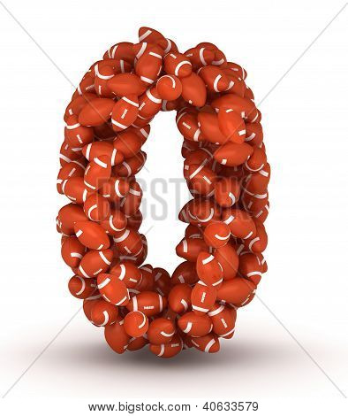 Number 0 making from american football balls poster