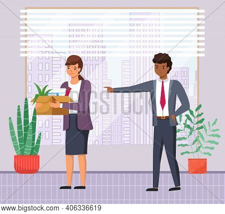 Angry Man Boss Dismissed Employee Points With Hand. Unhappy Girl Leave The Office With Things In Box