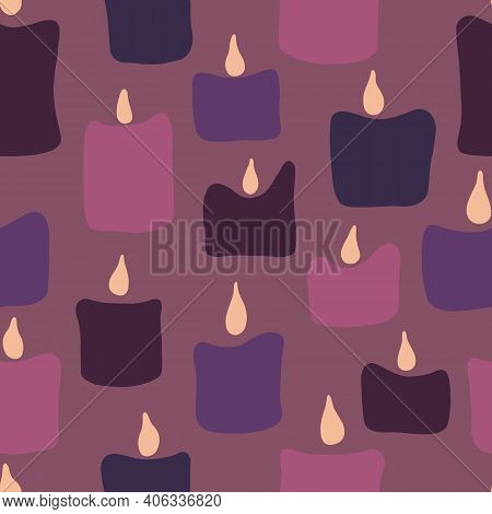 Seamless Pattern With Pink And Purple Noel Xmas Birthday Candles.