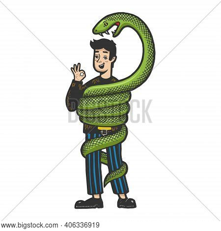 Big Snake Is Trying To Strangle And Eat An Optimistic Person Color Sketch Engraving Vector Illustrat