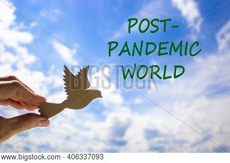 Post-pandemic World Symbol. Man Hand Holding Wooden Bird On Cloud Blue Sky Background. Words 'post-p