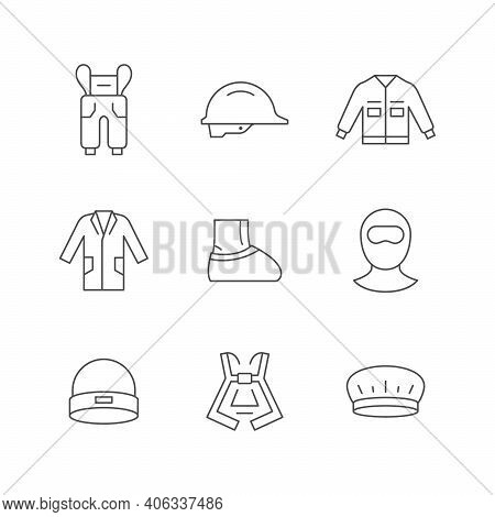 Set Line Icons Of Personal Protective Equipment Isolated On White. Overall, Hardhat, Industrial Jack