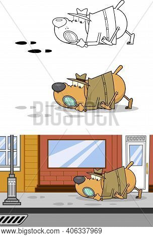 Detective Dog Cartoon Character Following A Clues. Set Raster Collection Isolated On White Backgroun
