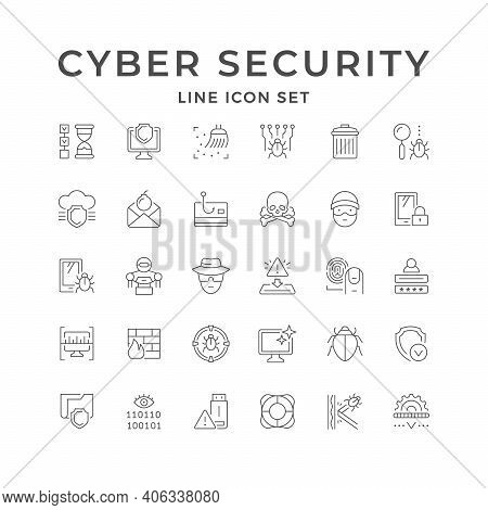 Set Line Icons Of Cyber Security Isolated On White. Computer Scanning, Firewall, Smartphone Virus, P