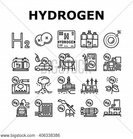 Hydrogen Industry Collection Icons Set Vector. Hydrogen Eco Energy Industrial Plant And Manufacturin