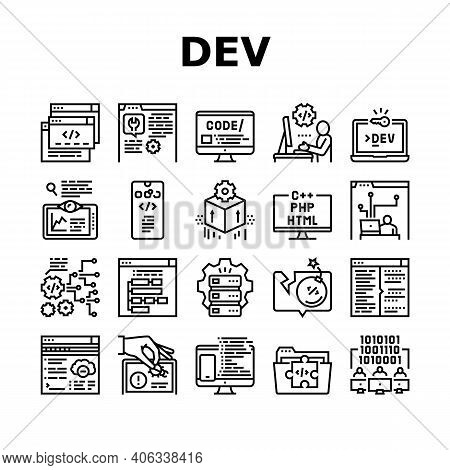Dev Code Occupation Collection Icons Set Vector. Dev Application And Software, Hacking And Coding, D