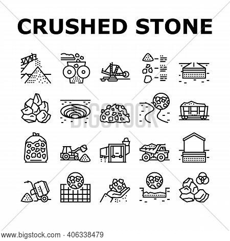 Crushed Stone Mining Collection Icons Set Vector. Heavy Machinery And Excavator, Dump Truck And Rail