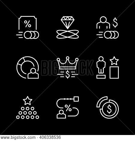 Set Line Icons Of Royalty Program Isolated On White. Affiliate Sale, Rate Level, Franchise. Vector I