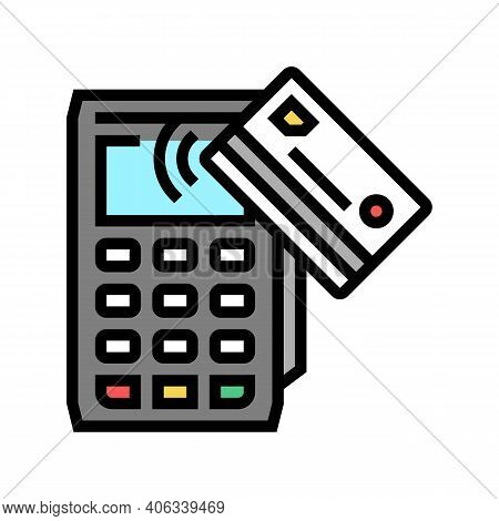Card Contactless Pay Post Terminal Device Color Icon Vector. Card Contactless Pay Post Terminal Devi