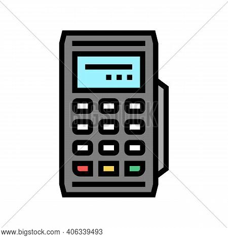 Modile Pos Terminal Gadget Color Icon Vector. Modile Pos Terminal Gadget Sign. Isolated Symbol Illus