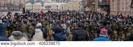 Saint Petersburg, Russia - 31 January 2021: Free Navalny Demonstration In Russia, Illustrative Edito