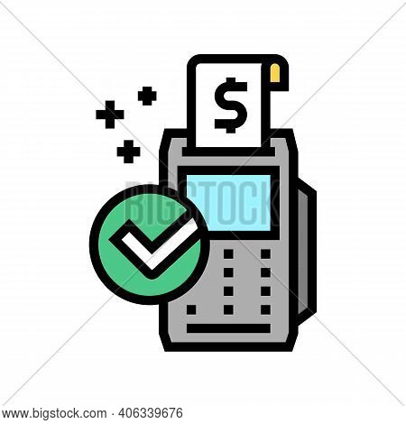 Accept Payment Pos Terminal Color Icon Vector. Accept Payment Pos Terminal Sign. Isolated Symbol Ill