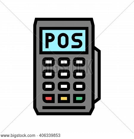 Mobile Pos Terminal Color Icon Vector. Mobile Pos Terminal Sign. Isolated Symbol Illustration