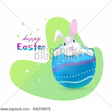 Easter Bunny Sitting In Eggshell. Happy Easter Greeting Vector Card.