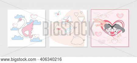 Valentines Day Vector Illustration Set Of Postcards With Swan Is A Symbol Of Love And Fidelity, Love