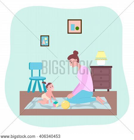 Mother Playing With Toddler Girl At Carpet With Ball, Cube Toys. Happy Woman Looking At Her Daughter