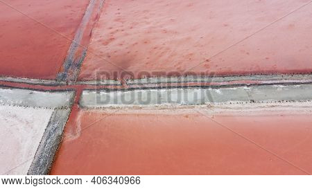 Aerial Top View Of Beautiful Salt Lake With Pink Water. View Of Pink Lake From Flying Drone. Drone C