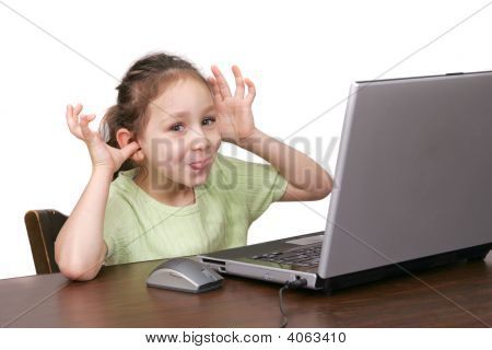 Young Girl Goofing On Computer