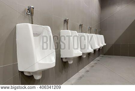 Men's White Urinals Design, Close Up Row Of Outdoor Urinals Men Public Toilet, Designing For Men, Ma