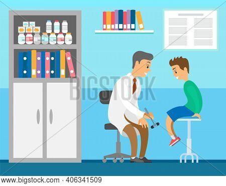 Neuropathologist Examining Patient Use Reflex Hammer Vector Flat Illustration. Boy Visits Doctor Dur