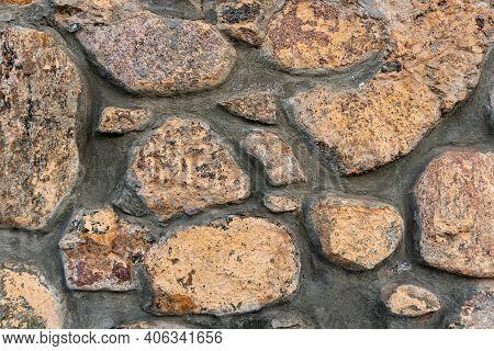 Close-up Stone Wall, Cobblestone Masonry, Stone Background, Cobblestone Pattern
