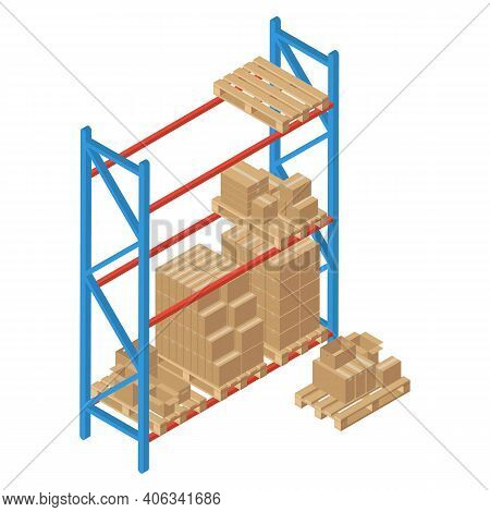 Isometric Racks With Pallet And Box. Vector Warehouse Shelving. Isolated On White Background. Logist