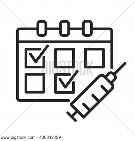 Multiple-dose Vaccine Schedules Outline Icon. Calendar And Syringe For Medication Injection. Two Dos