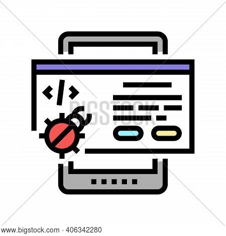 Tablet Debug Color Icon Vector. Tablet Debug Sign. Isolated Symbol Illustration