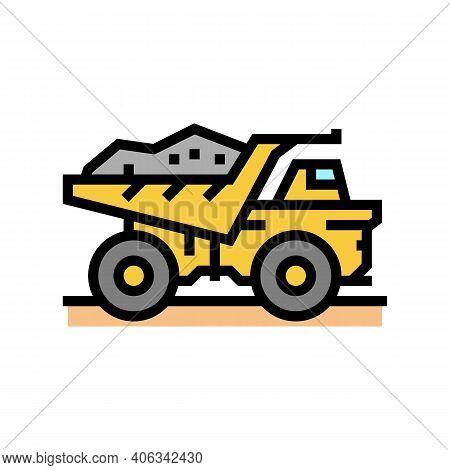 Dump Truck Stone Transportation Color Icon Vector. Dump Truck Stone Transportation Sign. Isolated Sy