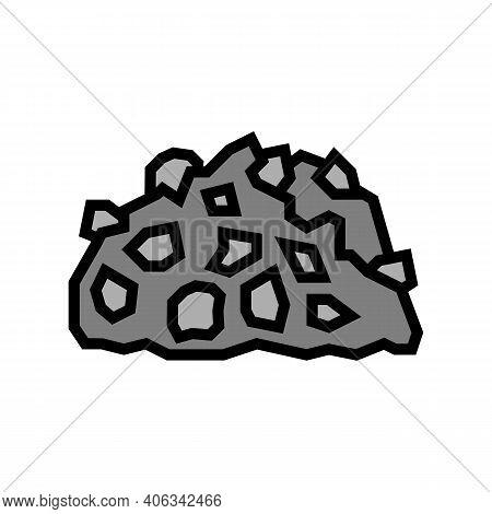 Gravel Stone Color Icon Vector. Gravel Stone Sign. Isolated Symbol Illustration