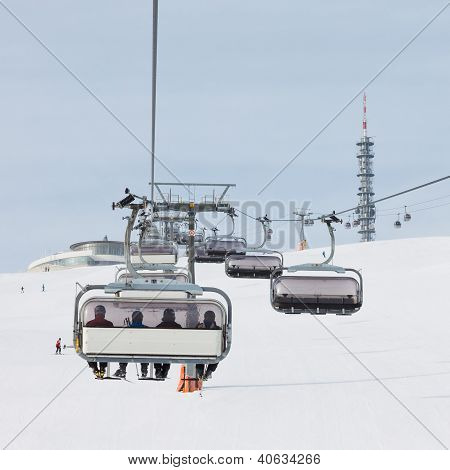 Chairlift Approaching The Summit Station