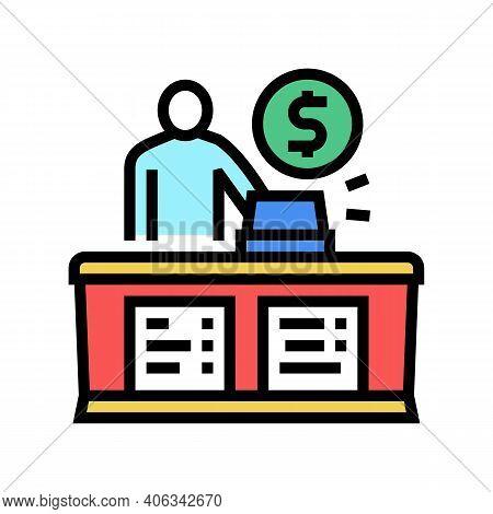 Cashier Seller At Counter Color Icon Vector. Cashier Seller At Counter Sign. Isolated Symbol Illustr