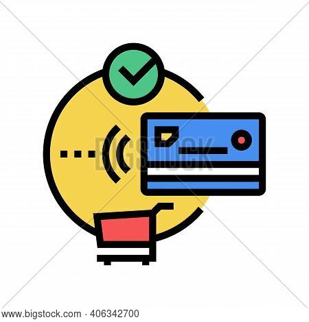 Contactless Payment With Credit Card Color Icon Vector. Contactless Payment With Credit Card Sign. I