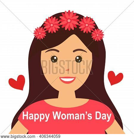 Women Pink Dresses With Flowers On Hair In Flat Design. Happy Woman's Day. International Woman Day.