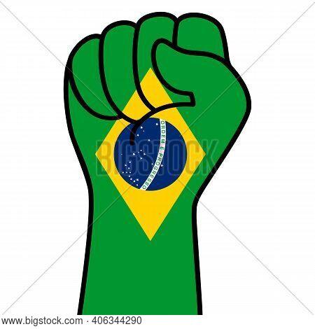 Raised Brazilian Fist Flag. Hand Of Brazil. Fist Shape Brazil Flag Color. Patriotic Demonstration, R