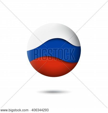 Russia Flag Icon In The Shape Of Circle. Waving In The Wind. Abstract Waving Flag Of Russia. Russian